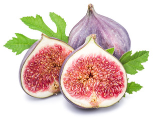 Ripe fig fruits on the white background.