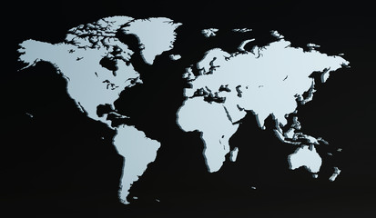 3D render world map