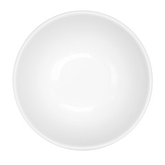 Empty White Bowl Isolated Top