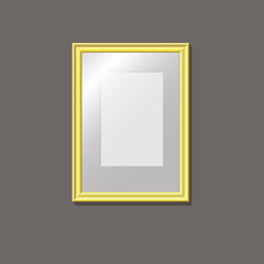 Empty gold frame on the wall, pattern, vector illustration