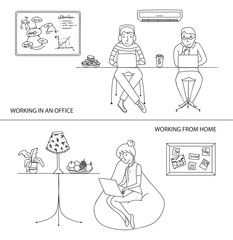 Working in office and from home concept