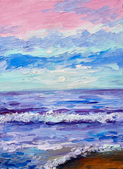 Oil painting of the sea, colorful sunset, watercolor art