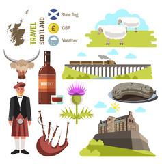 Scotland travel collection. Vector Illustration.