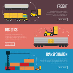 Logistics and transportation banner set vector illustration. Freight service, container truck in warehouse. Transportation template with cargo crane. Logistic concept with forklift truck loading boxes