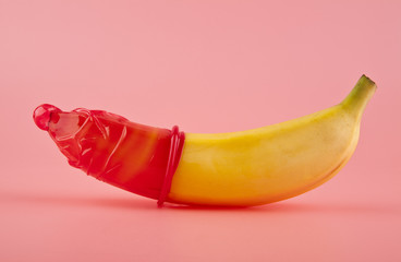 red condom and a banana