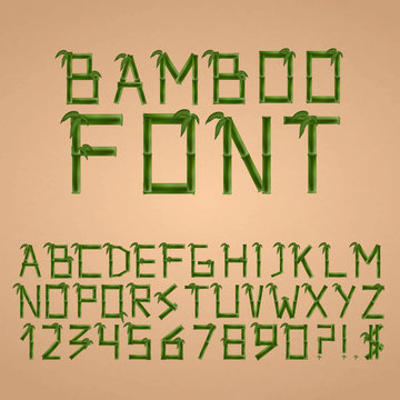 Bamboo font in asian style. Alphabet. Vector illustration.