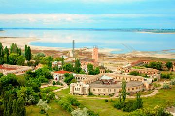 Odessa, Ukraine, the estuary Kuyalnik, hospital, and salty sea