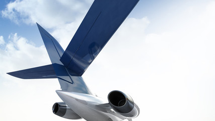 3d illustration of private aircraft jet engine with a part of a wing