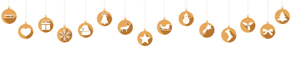 Hanging gold baubles with Christmas decorations
