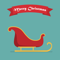 Santa sleigh with shadow and ribbon. Vector illustration