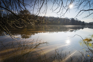 Wellen mit Spiegelung des bunten Herbstlaubes. Herbstlicher Wald mit schönen Wolken und deren Spiegelung im See,lange Belichtung und treibende Blätter auf einem See,bunter Herbst am Wasser
