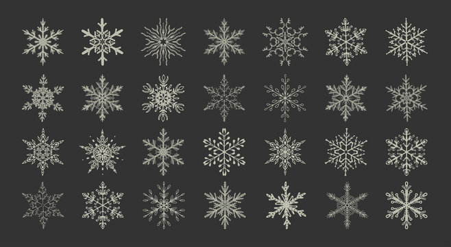 set of hand-drawing snowflakes.