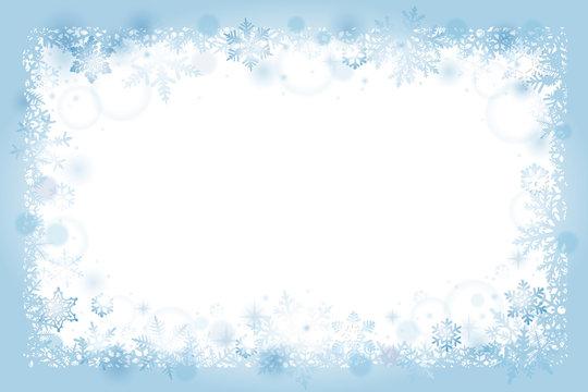Winter snowflakes frame background
