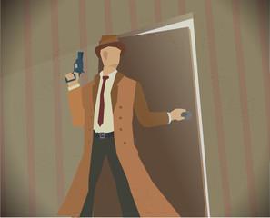 Detective noir style colored illustration.