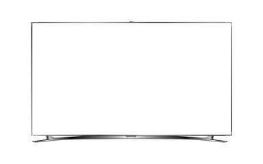 Modern UHD TV with blank screen isolated