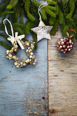 Christmas festive background with Christmas decorations and fir
