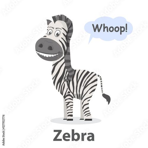 Zebra vector illustration Cartoon cute zebra with isolated