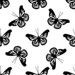 Beautiful seamless background of butterflies black and white colors.