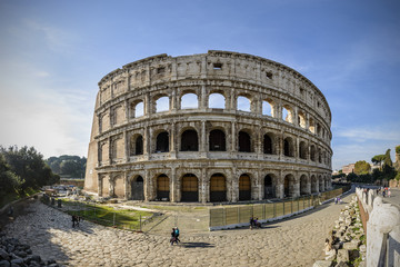 Wide angle view of Colosseum in Rome, Italy, Europe