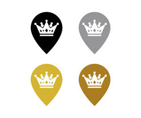 Map Pin King Crown Flat Design Style Modern Icon, Point Vector Symbol, Marker Sign