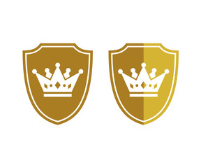 Gold Security Shield Protection King Crown Icon Logo Design
