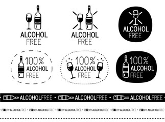 vector alcohol free sign set