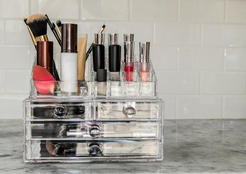 Makeup organizer with items.