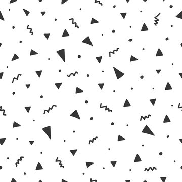 Hand drawn seamless pattern with triangle confetti