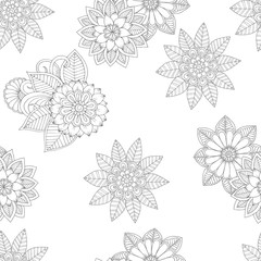 Flowers pattern in monochrome colors. Vector seamless backgroung for colorin book, wrapping paper, textile