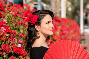 Young beautiful woman in a flamenco costume.