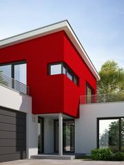 Haus Kubus rot Eingang