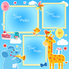 Photo Frames Collage. Photo Frames Making At Home. Birthday Photo Frames With Giraffe And Elephant. Decorative Template For Baby, Family Or Memories. Birthday Children's Photo Framework.