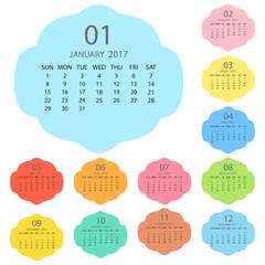 Calendar 2017 template design. Week starts from Sunday. Calendar Vector