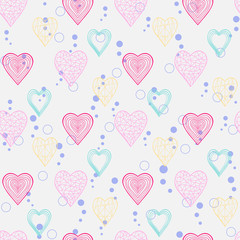 Abstract heart seamless pattern on a white background
