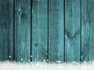 Weihnachten Holz Schnee Lichter Hintergrund tuerkis