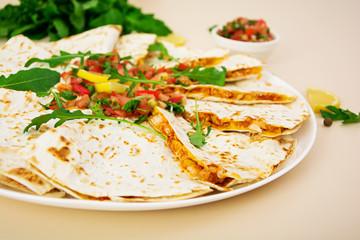 Quesadilla chicken and corn with salsa