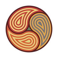 Triskelion symbol tattoo. Geometric circular ornament mandala print. Vector Illustration