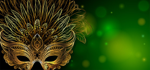 Vector Illustration. Golden carnival mask with feathers. Beautiful concept design for greeting card, party invitation, banner or flyer.