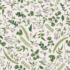 Floral seamless pattern with little plants.