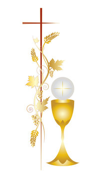 First communion vector color design illustration, with vine grapes and wheat ears and a candle, with white flowers and chalice with a host