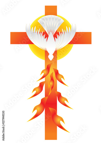 Holy Spirit Symbol A White Dove With Halo Of Light Rays And Seven