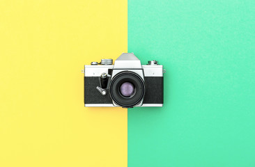 Vintage camera color background Retro style Minimalistic