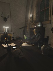 Alchemist Researching in his Study - fantasy illustration
