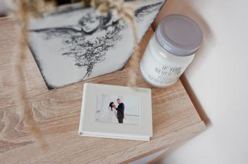 White classic photo flash box of photobook with frame of wedding