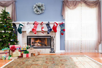 Decorated living room at home for Christmas