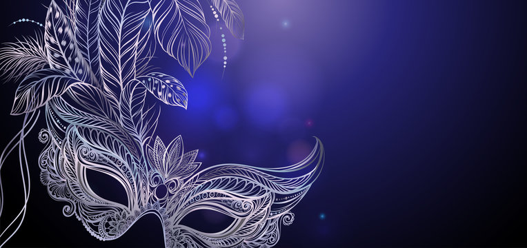 Vector Illustration. Silver carnival mask with feathers. Beautiful concept design for greeting card, party invitation, banner or flyer.