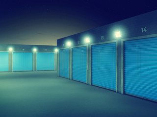Outdoors storage units at night , Self storage renting