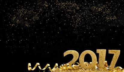 2017 chiffres dorés dans paillettes et ruban sur fond noir  étincelant Fototapete