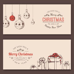 Greeting text and sketch decorations.