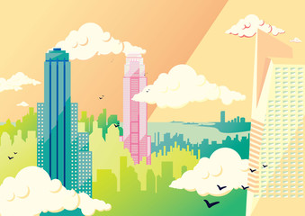 New York flat illustration: the Empire State Building and the skyscrapers of Manhattan skyline. Vector colorful image, pastel colors